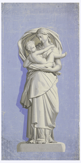 Standing figure of woman in flowing robes cradling child in her arms, on stone base. Printed in grisaille on blue ground.