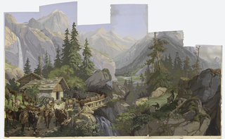 "Temperate Zone: Alpine scene, in sequence left to right. a) Nine cows before two huts. Large waterfall; b) Five cows, one mostly white, before stone-based hut; c) Ten cows crossing bridge over waterfall, large single rock above cows; d) River landscape with distant valley. Six spruce trees in foreground, with berries and blossoms in immediate foreground; e) Clearing with single tree. Two goats, one in profile; f) Rocky landscape with cap-like peak on horizon. Single thin tree in upper third of panel; g) Desert: Large blue magvey cactus with yellow flower stalk. Printed on bottom of panels: ""Les Zones par J. Zuber & Cie Rixheim, Alsace 1797-1909. No. 14 in rectangle""."