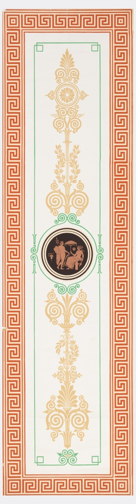 Greek or Roman figures in medallion, alternating with vases in medallions. Figures and vases printed in terra cotta on black background. Medallions are surrounded by orange, blue and white strapwork. Printed on off-white ground.  H#583