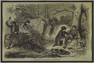 Scene in a forest of rocks and trees where men cut down fir trees, and another man and woman make wreaths.