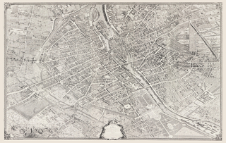 Map of Paris, 1739, printed in grisaille. The original bird's-eye-view map, begun in 1734, took five years to complete. It shows the labyrinthine medieval city before Baron Haussman created a more easily governed municipality by cutting through the old neighborhoods with grand boulevards.