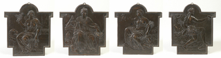 All relief plaques rectangular with domed tops and projections to the side, probably made to fit into a specific framework or piece of furniture.