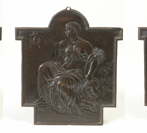 All relief plaques rectangular with domed tops and projections to the side, probably made to fit into a specific framework or piece of furniture. (a) Asia seated holding a gadrooned lamp in one hand and a leafy branch in the other, a camel's head coming in on the left; (b) Europe, seated holding a cornucopia of fruit and wheat above a helmet, on one side, the other arm around a tempietto a horse's head above, and with bishop's mitre in front and with ewer and basin below,  and below her feet, a classical bust on books, a palette and brushes above a recorder or flute; (c) Africa-female African seated figure, her tightly curled hair in close cropped cap, one hand raised holding a crab, the other resting on a lion, a palm tree in the crook of her arm; (d) America, a Native American seated in feather skirt and with feather headdress, bare chested and barefoot, a rugged landscape with tree to one side, holding a parrot out on his hand above an alligator under his foot on the other.