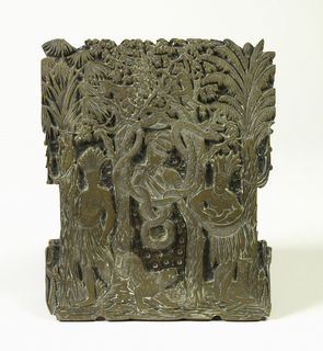 Bust portrait of Vasco Nuñez de Balboa (1475-1517), framed by intertwining snakes and flanked by American Indian man and woman with child, a llama, puma, and monkeys among trees. Probably used for printing of a title page.