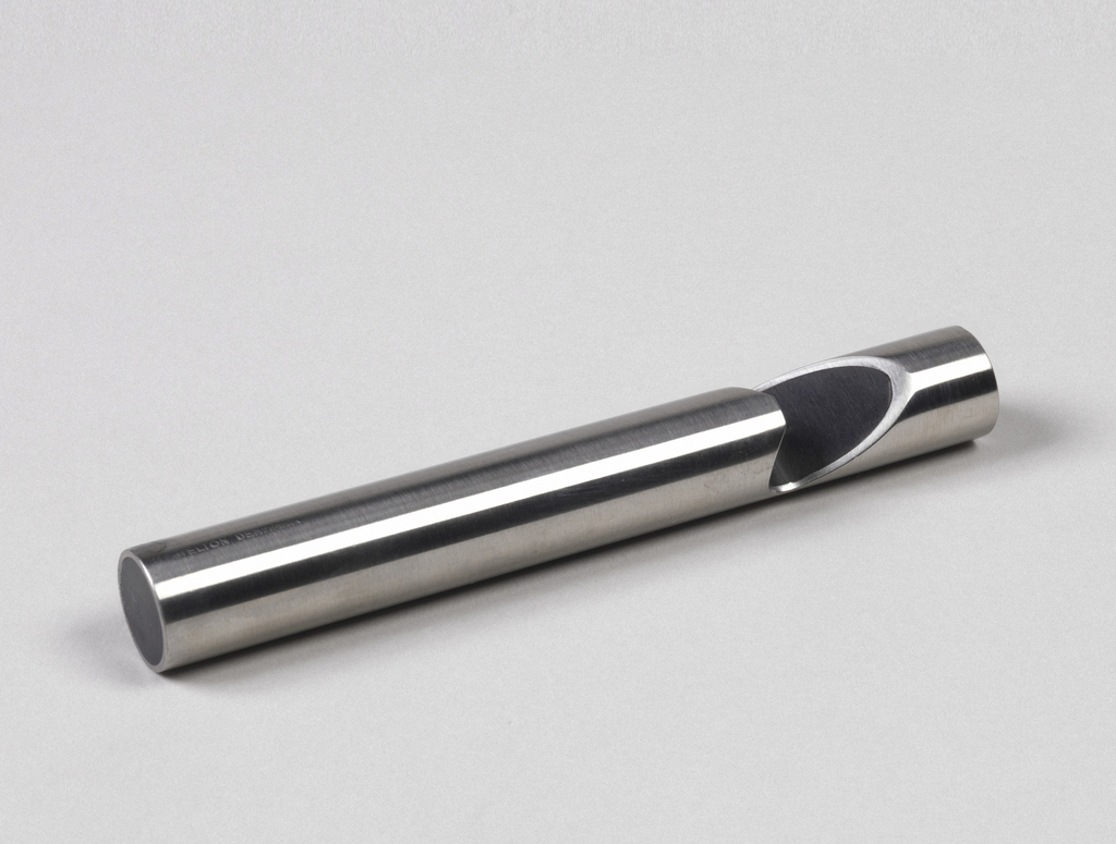 Tubular stainless steel cylinder reminiscent of a whistle.