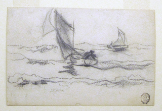 Horizontal view of two small fishermens' sailing boats, in the nearer boat fishermen are drawing in a line.