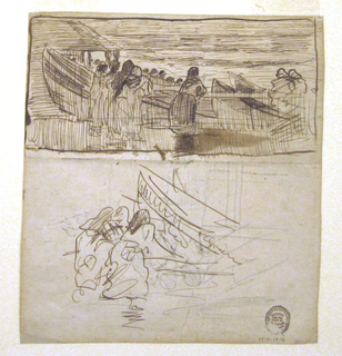 Recto: In upper half, women stand at a railing and watch the fishermen and the sea; at left is a house with a hipped roof and porch; beyond the railing, four dories are drawn up on beach.  Framing lines.  In lower half: details of three women [in a grouping similar to the one on the verso], and one dory with color notations.    Verso, drawn in opposite direction: three women and a child stand behind a railing; in background are dories, heads of fishermen, sea.