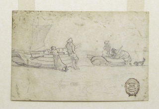 Recto:  Horizontal view of two boats drawn up on beach; a man and woman lean against the nearest boat and watch two men at work on the farthest boat.