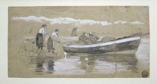 Horizontal view of two fishermen, in a beached dory, stowing away a net, which is being fed out by two women standing at the water's edge;a small sailing craft is visible in the distance.  Please note: 1912-12-20-b shows the front of the dory at the extreme right of the image, and extends under 1912-12-20-a.