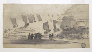 Horizontal view of a group of people at a railing overlooking the sea, with a procession of fishing boats coming toward the shore. Two men in oilskins drawn at much larger scale at right.