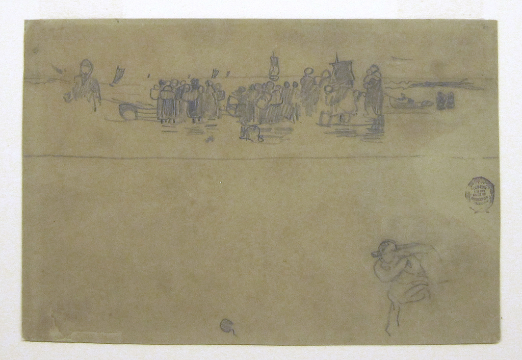 Horizontal view  showing, in the foreground of the upper section of the sheet,  a beach with groups of women, some carrying babies and some with baskets on their backs, while in the background boats are standing in toward shore in the sea.  In the lower section of the sheet there is a sketch of a woman with a basket on her back.
