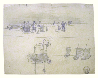 Horizontal view of a beach with women carrying baskets, awaiting the return of a fishing fleet, shown standing in toward shore across upper portion of sheet, and sketches of three boats and a woman with a basket across lower portion of sheet.