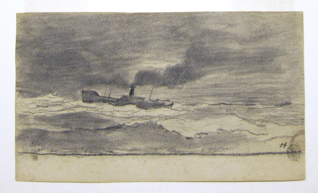 Horizontal view of a heavy sea with a cloudy sky; a fishing trawler, pointed toward the left, emits heavy smoke from its stack.  Bare margin acorss bottom of sheet.