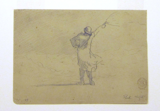 Recto: Horizontal view of a man in oilskins standing at the edge of a stormy ocean and holding a flare in his upraised right arm. Verso:  Lines from a larger sketch.