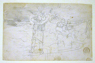 Recto:  Horizontal view of a man in oilskins holding a red flare in raised right hand while other men launch a dory into heavy surf, as a vessel flouders in the distance.  Verso: Lightly drawn sketch on reverse of sheet.
