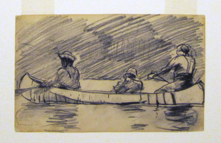 Horizontal view of canoe with three men, paddling, with the forward and center paddlers wearing hats; hatching to indicate foliage in background.