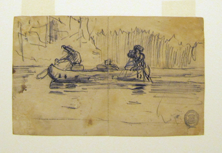 Horizontal view of side of a canoe, heading toward the left, paddled by two men with duffle bags at center; indication of foliage in background.