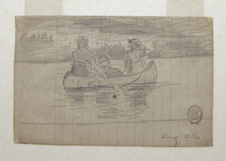 Horizontal oblique rear view of a canoe, heading toward the right, paddled by two men, with a third man sititng in center; indication of trees and clouds in background.