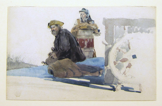 Horizontal view of the deck of a boat, with wheel resting against a wheel-house to the right, and a seated man and woman, who stands and rests against a barrel, to the left, with a river and distant shore in left background.