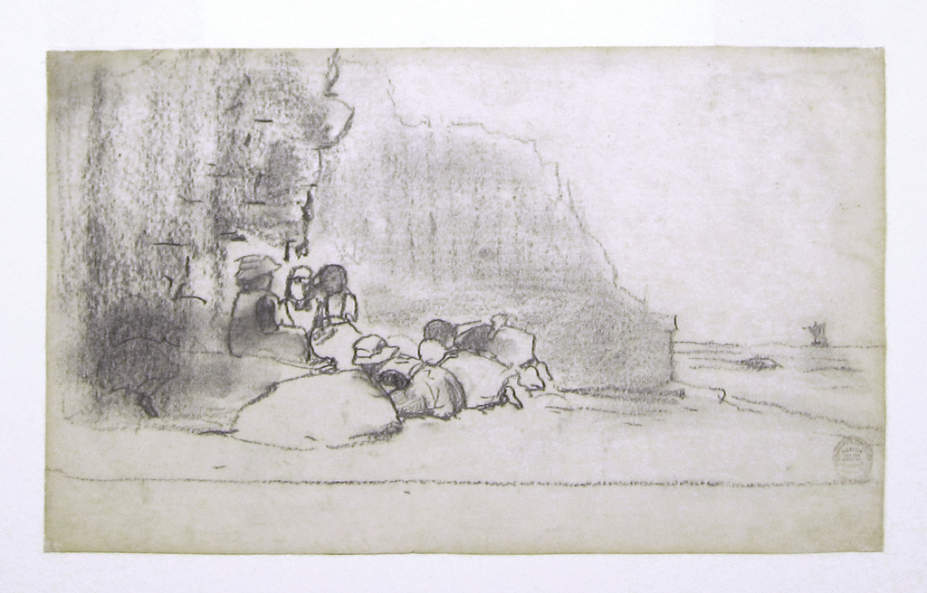Horizontal view of cliffs beside the ocean with six children playing on the shingle and a sail boat visible on the horizon.