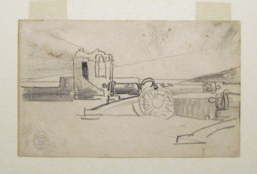 Horizontal view of the a cannon and a partial view of a second on the parapet of the Spanish fort, Morro Castle, dominating the foreground and the harbor of Santiago de Cuba visible in background.