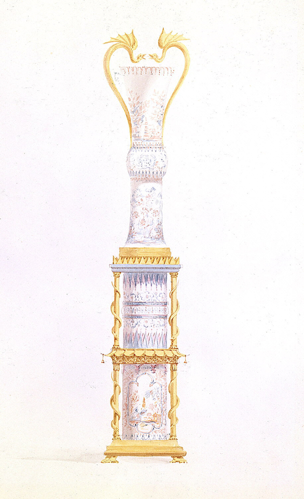 A tall Chinese porcelain vase on a porcelain pedestal which is enclosed in an ormolu gallery in two tiers supported by columns, entwined by serpents, the first or lower tier of columns surmounted by a pagoda-like canopy hung with bells. The vases have ormolu-mounted dragon handles.  Original album associated with this collection still exists.  See 1948-40-1 accessory