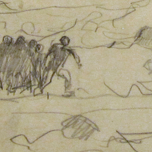 "Recto: Horizontal view of a beach, wih breakers; in center, men in oilskins beaching a dory; to the left, group of men running towards men at center.  Verso: Figure suggestive of left hand figure in ""Eight Bells."""