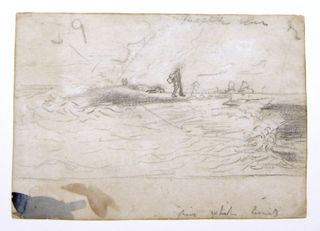 Horizontal view of the water, beach and figures, with color notations.  Spots of red and blue watercolor on margin at bottom.
