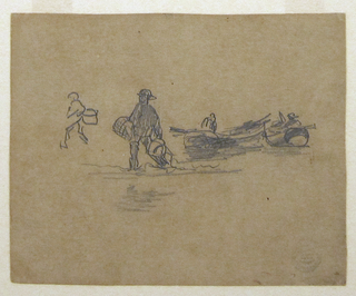 Recto:  Horizontal view of the beach with two fishermen's dories, and two men walking through shallow water carrying baskets. Verso:  Slight sketch of a beached dory and fishermen