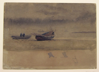 Horizontal view of the stern of two rowboats drawn up on sandy beach with steam and sailing vessels on horizon under a cloudy sky.  Sketches of small sailing craft on lower margin.