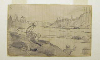 Horizontal view showing a stream with a rocky bank in the foreground, beside which are seen the head and shoulders of a man casting with a long rod and a man with a net crouching on the rocks in the middleground, with trees visible in background.