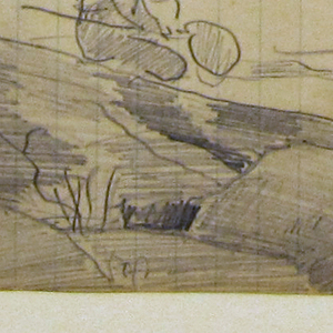 Sketch of a stream with a rocky bank in the foreground, beside which are seen the head and shoulders of a male figure casting with a long rod and a man with a net crouching on the rocks in the middleground, with trees visible in background.