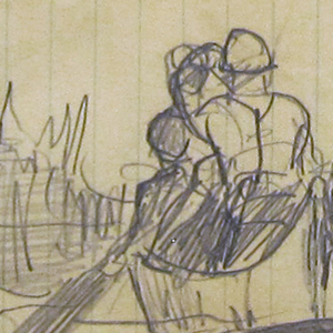 Sketch of a canoe with two male figures and trees visible on both banks of the river.