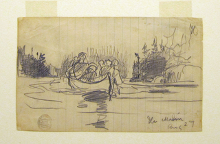 Horizontal oblique rear view of a canoe with three men and rocky stream banks, with trees.