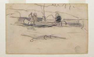 Horizontal view of a canoe with two men paddling while a third, in the center, fishes.