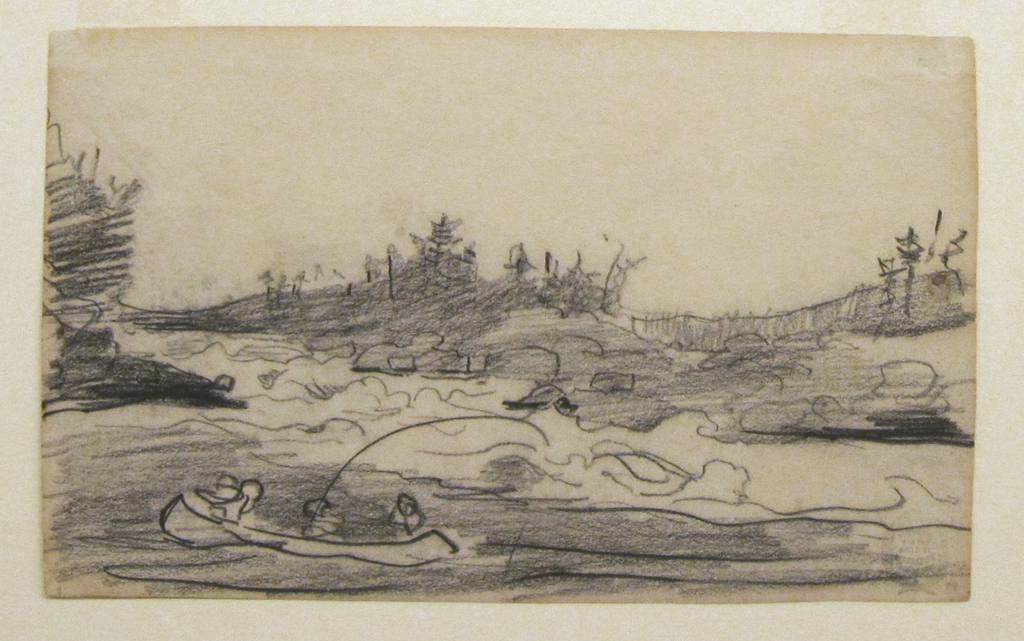 Horizontal view of rapids, at the foot of which is a canoe paddled by two men, with a third fishing.