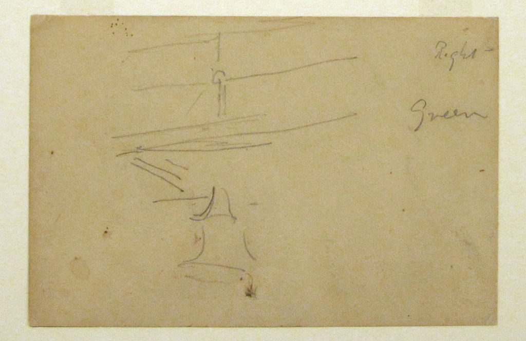 Horizontal sketch of a portion of the upper deck of a ship, with its bell hanging below.