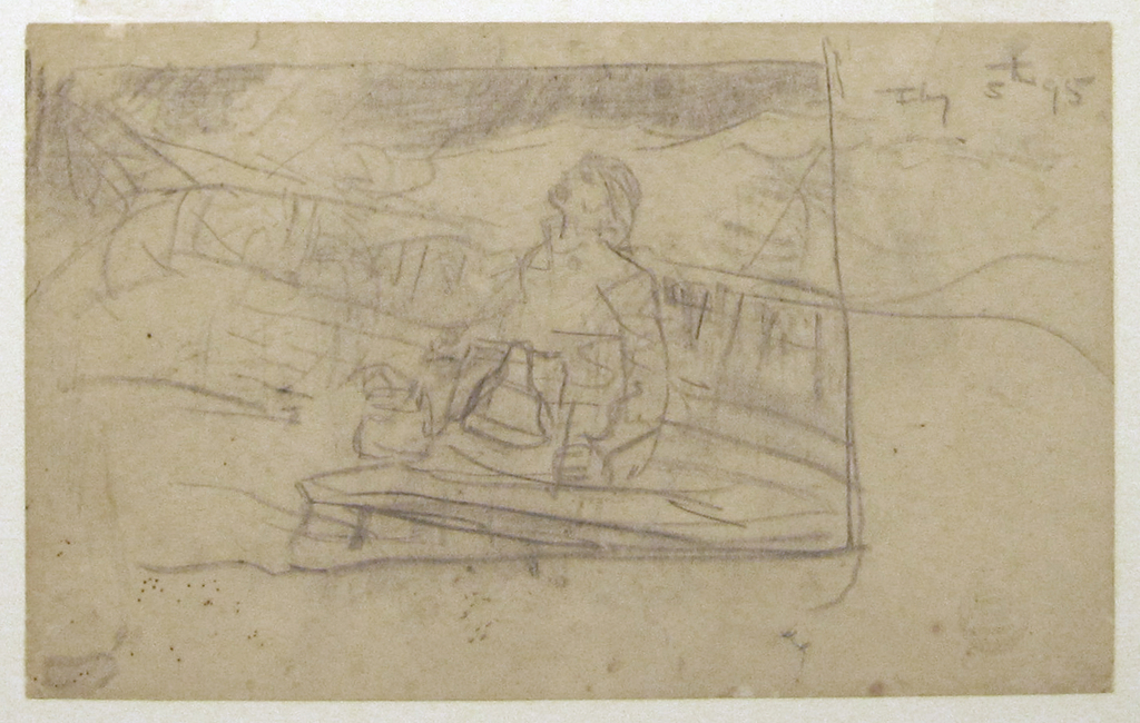 Horizontal view of a man on a deck, at the bow of a boat, with a ship's bell.