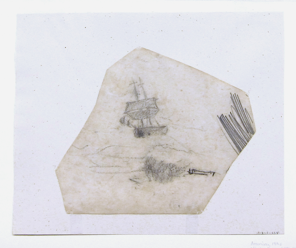Horizontal view of a square-rigger in a stormy sea, with graphite scratching in right margin.