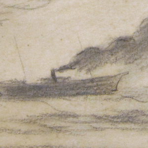 Horizontal view of a fishing trawler with a long trail of smoke and a large cloud across upper left corner.