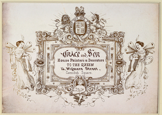Trade card with center inscription flanked by two female figures on left and right. Upper center, coat  of arms.