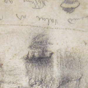 Recto: Group of figures in the lee of a building, with a railing in the middle distance and a view of the ocean beyond. Written color notations  across bottom margin beside a sketched fisherman's hat. Verso: Groups of figures and two small framed sketches in graphite.