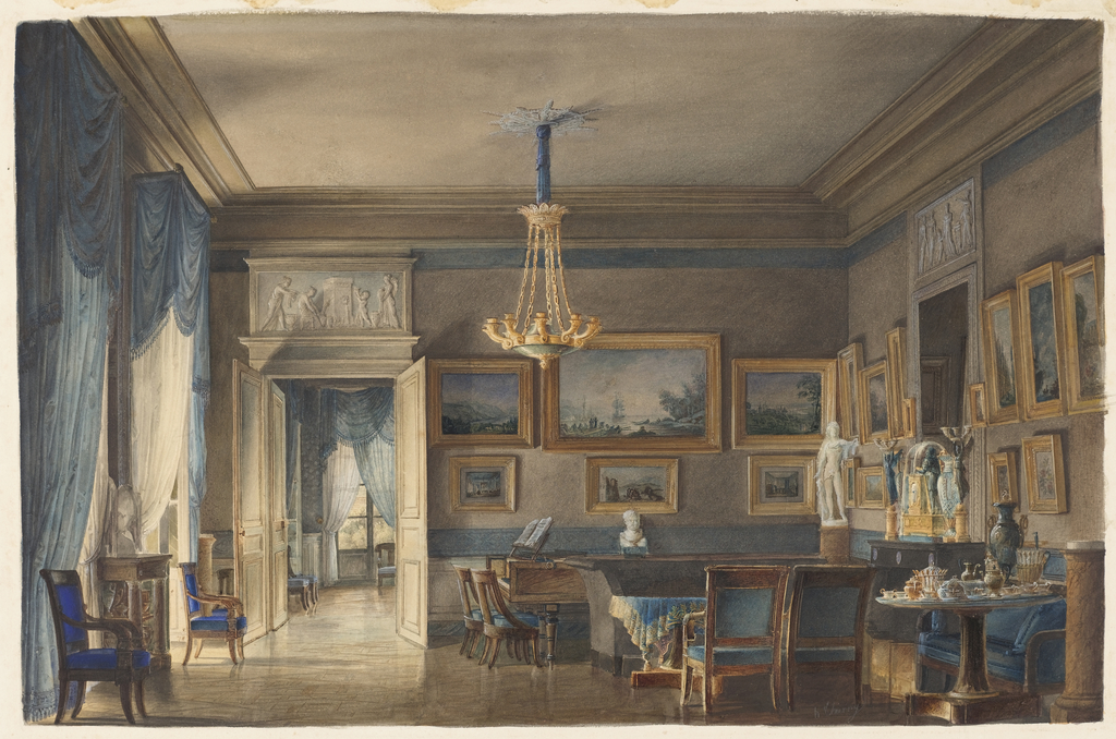 Detailed elements of the Empire period are beautifully executed by the artist. Buff walls banded in blue serve as the color scheme of the salon and the adjoining room. Heavily swagged curtains with fringed pelmets, blue upholstery, and a blue and gold tablecloth accent bare, highly polished floors. An overdoor panel carved with figures appears to have a bluish ground. A picture collection in heavily gilded frames lines the walls. A marble statue of Apollo Belvedere on a pedestal and a bronze clock flanked by candelbra in the form of a winged victory on the chimneypiece are similar to decorative elements used by Percier and Fontaine at Malmaison and Fontainbleau. A tea table set with porcelains and metalwork of the period is on the right.