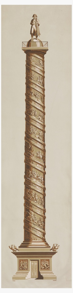 Vertical rectangle, with representation of the Vendome Column, surmounted by a figure of Napoleon. Printed in white and browns, on gray ground.