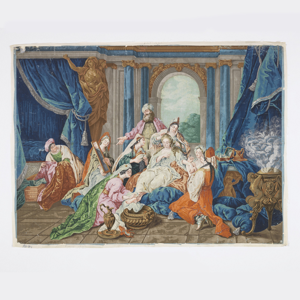 Horizontal rectangle, on two joined sheets of paper, printed in brilliant colors. Esther, seated, being attended by serving woman, with Hagar standing by. Architectural background with drapery.