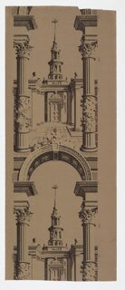 Pillar and arch design. View through an arched opening between columns, to a court with colonnade on either side; beyond, a building with large door and circular spire in five stories. Printed in light and dark browns on medium brown ground. Vertical, a full width, giving nearly two repeats.