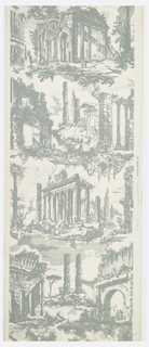 Large-scale Piranesi-like ruined temples and arches in blue-green on white ground. Very large vertical repeat. Drop match.