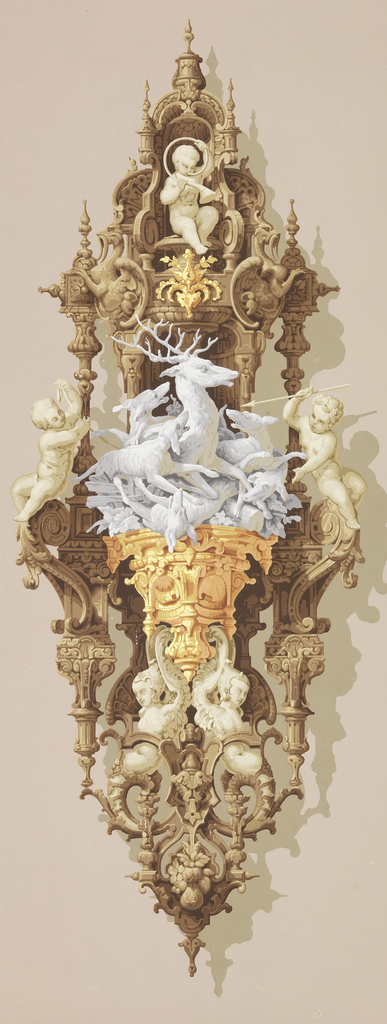 """a"": Oval motif in the Neo-Renaissance style imitating brown wooden carved and turned openwork. At center, a console ornamented with gold supporting a grisaille group of hounds attacking a stag. Sepia putti, top and sides; ""b"": Similar motif with console supporting grisaille wolf caught in a trap.  At top an eagle attacks a swan-like bird. Same color scheme as ""a""."