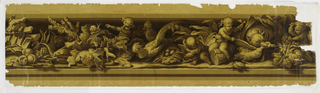 Putti among fruits and animals, including dog, fish, snake threatening frog, two pheasant cocks, and a fox strangling a goose. Theme of gastronomy. Printed in browns and yellows; border at top and bottom simulating wood grain.