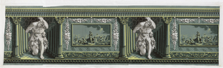 "Green ground with grisaille figures of Hercules holding the globe of sky on his back at the front of a colonade, alternating with the ""Triumph of Venus"" with Venus standing on a shell drawn by dolphins. The Triumph of Venus is framed and set within an imitation marble panel and ornamented with fruit festoons in grisaille."